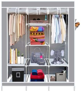 GTC 6+2 Layer Collapsible Wardrobe for Clothes 88130 (with Pocket, Grey)