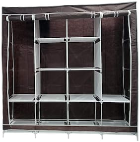 GTC Collapsible Wardrobe 12 Shelves 4 Sides,Armoire almari Closet Clothes Storage Rack Quick and Easy to Assemble (88170) (Brown)