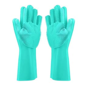 GTC Magic Dishwashing Gloves with Scrubber, Silicone Cleaning Reusable Scrub Gloves for Wash Dish, Kitchen, Bathroom
