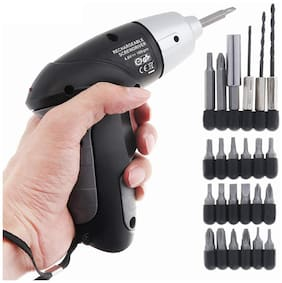 GTC Rechargeable Cordless 4.8V Household Electric Screwdriver 2800 mAh Battery with 24 Pieces Screw Drill Bits Accessories Multicolour (SY-D) IRON, 14x3x13 cm