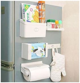 GTC Refrigerator Storage Rack 5 IN 1 Magnetic Tissue Paper-Roll Holder-Spice Rack-Towel Rack-Hook Rack-Cruet Stand-Side Tray Holder-Fridge Organizer Paper Roll With Free Shipping ( IT N - 275 )