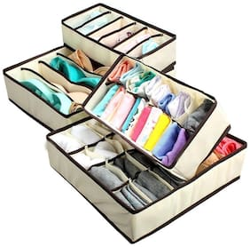 GTC Set of 4 Foldable Drawer Dividers, Storage Boxes for Clothing, Shoes, Underwear, Bra, Socks 34266-1