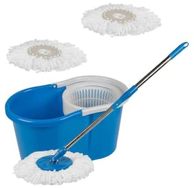 GTC 360° Spin Floor Cleaning Easy Bucket PVC Mop with 2 Microfiber Heads(Multi Color)