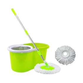 GTC 360° Spin Floor Cleaning Easy Bucket Steel Mop with 2 Microfiber Heads(Multi Color)