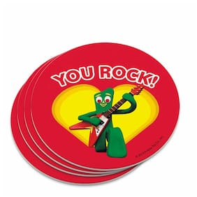 Gumby with Guitar You Rock Heart Novelty Coaster Set