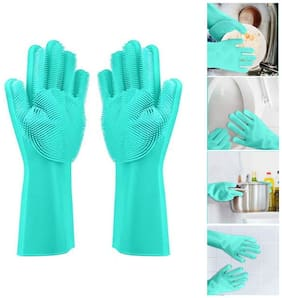 Gurnoor Creation Silicone Dishwashing Cleaning Gloves for Utensil/Kitchen/Dishwashing/Pet Grooming/Car & Bathroom (1 Pair) Assorted Color