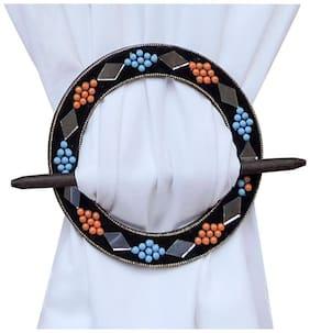 H & W Black/Orange MDF Round Shape Curtain Tieback- Set of 2