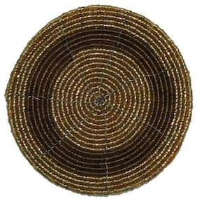 H & W Brown/Gold Beaded Table Coster- Set of 4