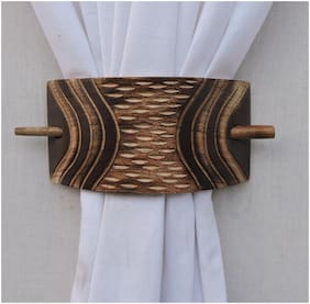 H & W Copper WOOD Rectangle Shape Curtain Tieback- Set of 2