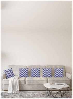 H & W Cotton Beige  Square Cushion Cover- Set of 5