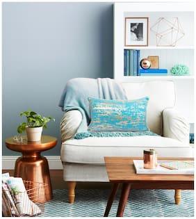 H & W Cotton Blue  Rectangular Cushion Cover- Set of 1