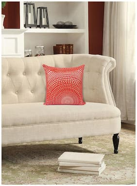 H & W Cotton Square Cushion Cover- Set of 1