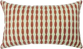 H & W Cotton Yellow Rectangular Cushion Cover- Set of 1