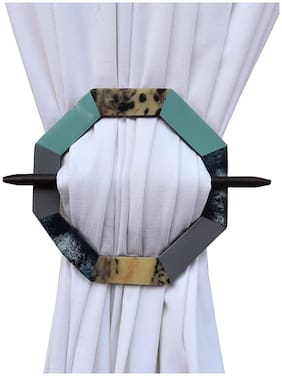 H & W Decorative Handmade Medium Density fibreboard Curtain Tieback Holder- Set of 2