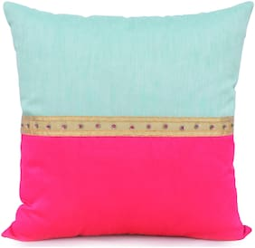 H & W Green/Pink Cushion Cover with Lace Work & Bead Work in Poly Dupion Fabric- Set of 1