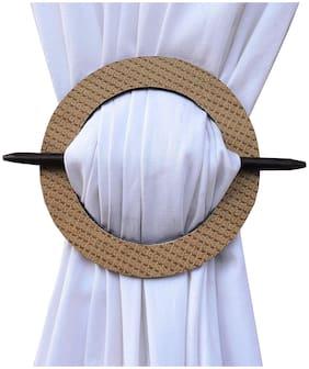 H & W Handmade Medium Density fibreboard and Brass Bead Curtain Tieback Holder- Set of 2