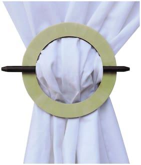 H & W Lime MDF Round Shape Curtain Tieback- Set of 2