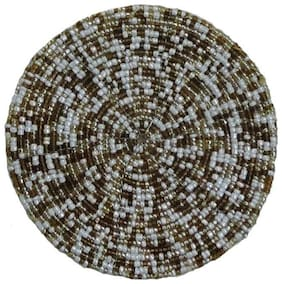H & W Multi/Brown Beaded Table Coster- Set of 4