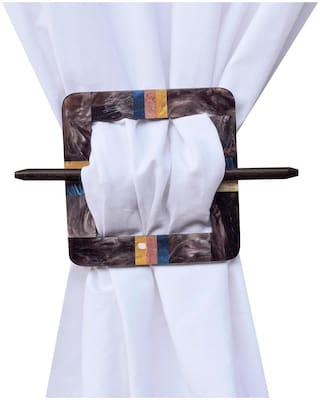 H & W Multi MDF Square Shape Curtain Tieback- Set of 2