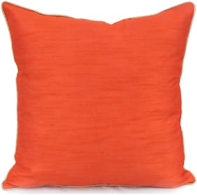 H & W Orange Cushion Cover in Poly Dupion Fabric with Lurex Code Piping- Set of 2