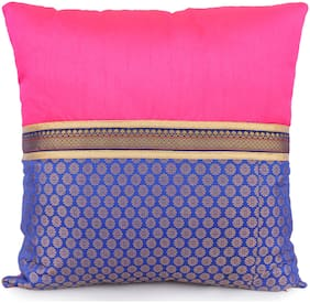 H & W Pink/Blue Cushion Cover with Pach Work Banaras Jacquard Polyester Fabric & Poly Dupion Fabric with Banaras Jacquard Lace- Set of 1