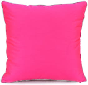 H & W Pink Cushion Cover in Poly Dupion Fabric with Lurex Code Piping- Set of 2