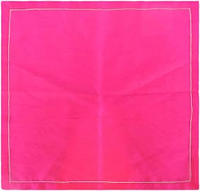 H & W Pink Napkin with Satin Stitch Embroidery Gold Zari Thread over Poly Dupion Fabric- Set of 2 (40 X 40 Cm)
