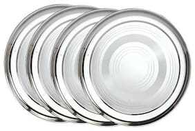 Half 4 Pieces;Stainless Steel Dinner Plates;20 cm