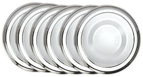Half 6 pcs;Stainless Steel Dinner Plates;20 cm