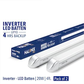Halonix 20W Inverter Rechargeable Cool White Led Batten Pack of 2