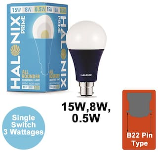 Halonix All rounder wattage 15W;8W;0.5W Led Bulb Pack of 1