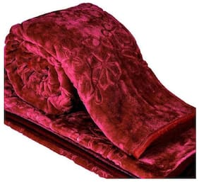 HANBOK Superior Quality Mink Single Bed Blanket Embossed - Maroon