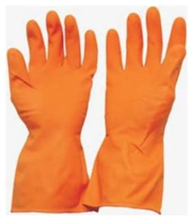Hand Care Extra Comfort Orange Industrial Rubber Gloves Dry Glove  (Extra Large)