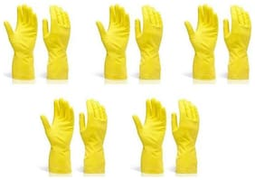 Hand Care Flock lined Household /Kitchen Cleaning Wet and Dry Rubber Glove Set Yellow Large-5pair