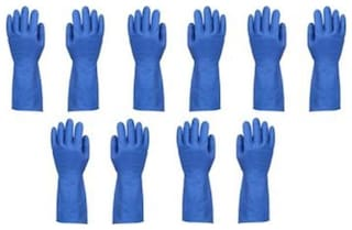 Hand Care Flocklined Household /Kitchen Cleaning Wet and Dry Rubber Glove Set Blue Large-5pairs