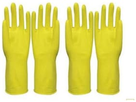 Hand Care Flock lined Household /Kitchen Cleaning Wet and Dry Rubber Glove Set Yellow Large-2pair