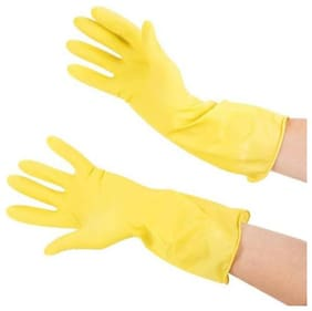 Hand Care Surf Long Sleeve Kitchen ,Waterproof Household Glove, Warm Dishwashing Glove, Water Dust Stop Cleaning Rubber Gloves-Yellow Color-1 Pair