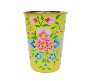 Hand Painted Paper Mache Steel Drinking Glass;Beautiful Flower Design Glass(Yellow)