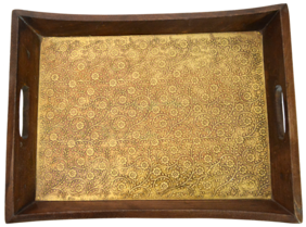 Handcrafted  Brass  Wooden Serving Tray
