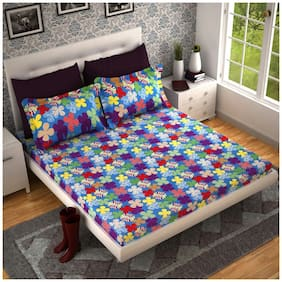 Handloom Villa Cotton 3D Printed Double Size Bedsheet 104 TC ( 1 Bedsheet With 2 Pillow Covers , Multi )