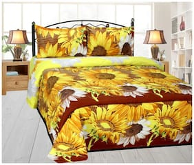 Handloom villa printed cotton bed sheet with 2 pillow cover