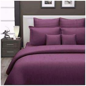 Handloom villa plain solid satin cotton bedsheet with 2 pillow cover