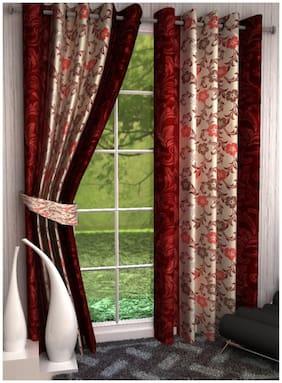 Handloom villa printed designer eyelet door curtain (set of 2)