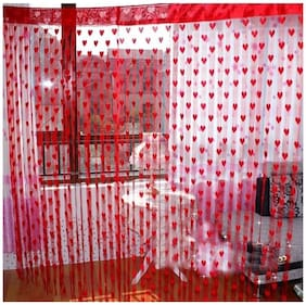 Handloomdaddy Super Romantic Red Heart Curtain