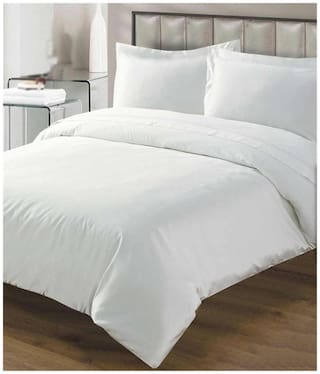 Handloom Villa Cotton Abstract Double Size Bedsheet 104 TC ( 1 Bedsheet With 2 Pillow Covers , White )