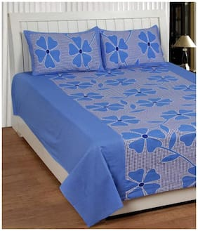 Handloom Villa Cotton Abstract Double Size Bedsheet 104 TC ( 1 Bedsheet With 2 Pillow Covers , Blue )