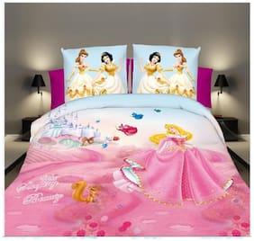 Handloomvilla printed cartoon 3d superior cotton double bedsheet with 2 pillow cover