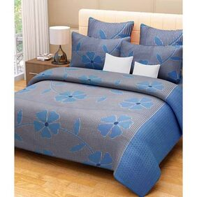 HandloomVilla Blue Double Bedsheets With 2 Pillow Covers