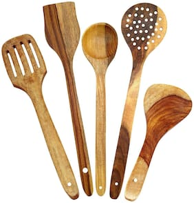 Handmade Big Wooden Serving and Cooking Spoon Kitchen Tools Utensil, Set of 5