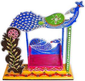 Handmade Decorative Wooden And Paper Mcahe Krishna Laddu Gopal Foldable Jhula/ Krishna Janmashtami Swing Jhula/ Home Temple